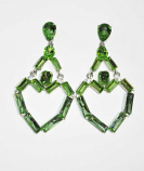 Olivine/Light Colorado Silver Linked Baguette Stone Post Earring